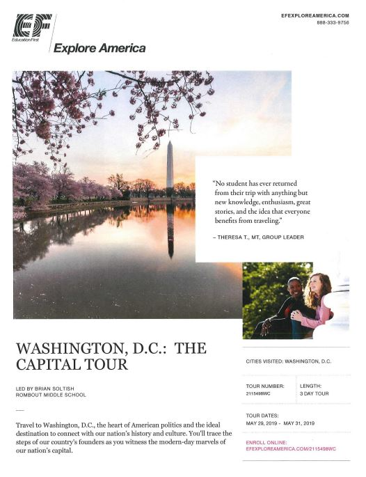 Link to Enroll in 8th Grade Trip to Washington, D.C. Trip